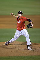 Kannapolis Intimidators relief pitcher David Trexler (27) in action against the Lakewood BlueClaws at CMC-Northeast Stadium on May 16, 2015 in Kannapolis, North Carolina.  The BlueClaws defeated the Intimidators 9-7.  (Brian Westerholt/Four Seam Images)