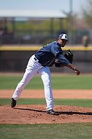 San Diego Padres starting pitcher Reggie Lawson (41) follows through on his delivery during an Extended Spring Training game against the Colorado Rockies at Peoria Sports Complex on March 30, 2018 in Peoria, Arizona. (Zachary Lucy/Four Seam Images)