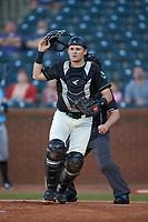 Ocelotes de Greensboro catcher Grant Koch (34) on defense against the Hickory Crawdads at First National Bank Field on June 11, 2019 in Greensboro, North Carolina. The Crawdads defeated the Ocelotes 2-1. (Brian Westerholt/Four Seam Images)