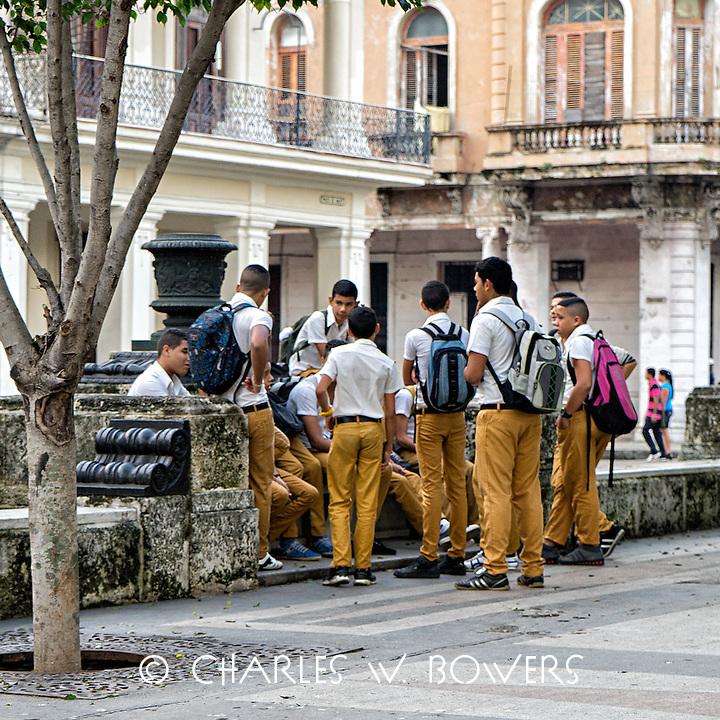 Faces Of Cuba - School boys meet up.