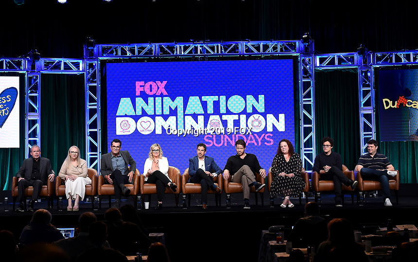 2019 FOX SUMMER TCA: (L-R): DUNCANVILLE Co-Creator/Writer/Executive Producers Mike Scully and Julie Scully, cast member Ty Burrell, and cast member/Co-Creator/Writer/Executive Producer Amy Poehler; FOX Entertainment, President Entertainment Michael Thorn; BLESS THE HARTS cast member Ike Barinholtz, Creator/Executive Producer Emily Spivey, and Executive Producers Phil Lord and Chris Miller during the ANIMATION DOMINATION: BLESS THE HARTS/DUNCANVILLE panel at the 2019 FOX SUMMER TCA at the Beverly Hilton Hotel, Wednesday, Aug. 7 in Beverly Hills, CA. CR: Frank Micelotta/FOX/PictureGroup