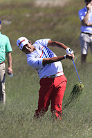 Hideki Matsuyama (JPN) chips into the 16th green from the rough during Thursday's Round 1 of the 118th U.S. Open Championship 2018, held at Shinnecock Hills Club, Southampton, New Jersey, USA. 14th June 2018.<br /> Picture: Eoin Clarke | Golffile<br /> <br /> <br /> All photos usage must carry mandatory copyright credit (&copy; Golffile | Eoin Clarke)
