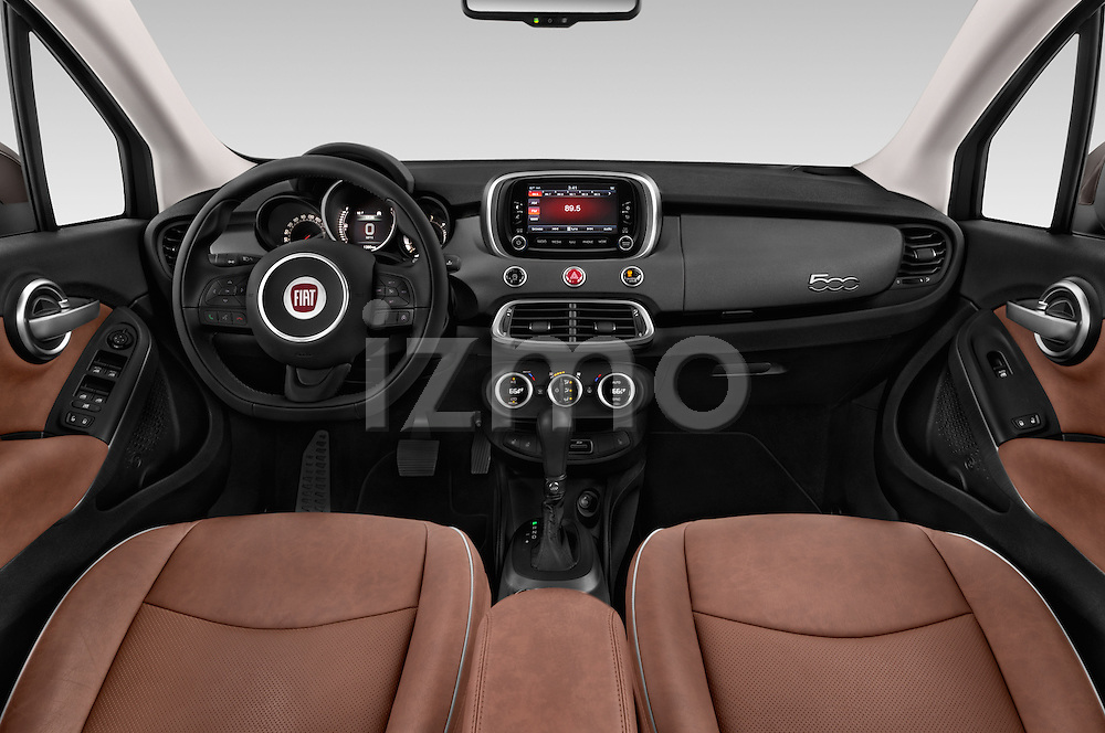 Stock photo of straight dashboard view of 2016 Fiat 500X Trekking-Plus-4WD 5 Door SUV Dashboard