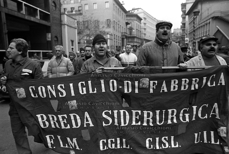 Ott 1988, Milano, sciopero per il rinnovo del contratto<br /> Oct 1988, Milan, strike for the renewal of the contract