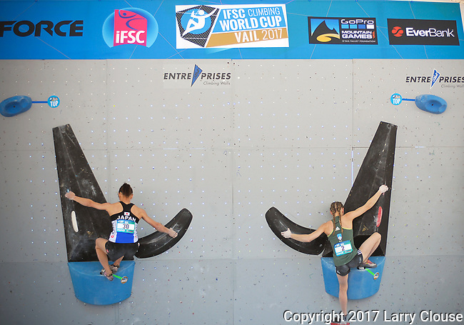 June 9, 2017 - Vail, Colorado, U.S. - Japan's, Akiyo Noguchi #30 and Slovenia's, Janja Garnbret #2, on their way to topping their climbing problem during the GoPro Mountain Games, Vail, Colorado.  Adventure athletes from around the world meet in Vail, Colorado, June 8-11, for America's largest celebration of mountain sports, music, and lifestyle.