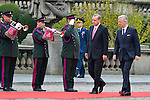 Turkish President Erdogan and his spouse on official visit in Belgium received by King Philip and Queen Matilda on the Place des Palais. Brussels, 5 October 2015, Belgium