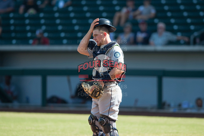 Peoria Javelinas catcher Joe DeCarlo (4), of the Seattle Mariners organization, during an Arizona Fall League game against the Mesa Solar Sox at Sloan Park on October 24, 2018 in Mesa, Arizona. Mesa defeated Peoria 4-3. (Zachary Lucy/Four Seam Images)