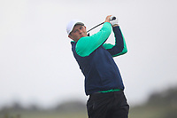 Robbie Cannon from Ireland on the 8th tee during Round 3 Foursomes of the Men's Home Internationals 2018 at Conwy Golf Club, Conwy, Wales on Friday 14th September 2018.<br /> Picture: Thos Caffrey / Golffile<br /> <br /> All photo usage must carry mandatory copyright credit (&copy; Golffile | Thos Caffrey)