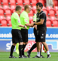 Lincoln City manager Danny Cowley, right, shakes hands with Referee Lee Swabey at the end of the game<br /> <br /> Photographer Chris Vaughan/CameraSport<br /> <br /> The EFL Sky Bet Championship - Rotherham United v Lincoln City - Saturday 10th August 2019 - New York Stadium - Rotherham<br /> <br /> World Copyright © 2019 CameraSport. All rights reserved. 43 Linden Ave. Countesthorpe. Leicester. England. LE8 5PG - Tel: +44 (0) 116 277 4147 - admin@camerasport.com - www.camerasport.com
