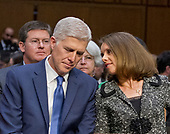 Judge Neil Gorsuch and his wife, Marie Louise, as he prepares to testify before the United States Senate Judiciary Committee on his nomination as Associate Justice of the US Supreme Court to replace the late Justice Antonin Scalia on Capitol Hill in Washington, DC on Monday, March 20, 2017.<br /> Credit: Ron Sachs / CNP<br /> (RESTRICTION: NO New York or New Jersey Newspapers or newspapers within a 75 mile radius of New York City)