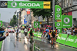 The breakaway group Yoann Offredo (FRA) Wanty-Groupe Gobert, Thomas Boudat (FRA) Direct Energie, Taylor Phinney (USA) Cannondale Drapac and Laurent Pichon (FRA) Fortuneo-Oscaro at the intermediate sprint during Stage 2 of the 104th edition of the Tour de France 2017, running 203.5km from Dusseldorf, Germany to Liege, Belgium. 2nd July 2017.<br /> Picture: ASO/Pauline Ballet | Cyclefile<br /> <br /> <br /> All photos usage must carry mandatory copyright credit (&copy; Cyclefile | ASO/Pauline Ballet)