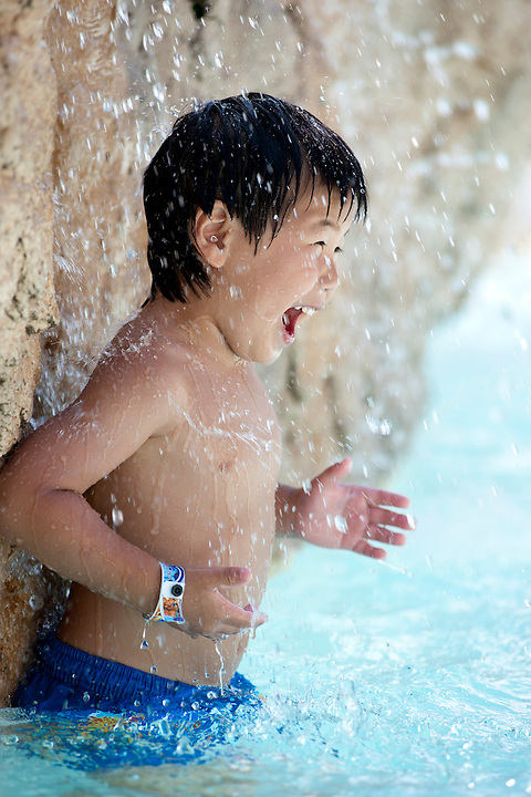 Cameron Gorka, 3, is pictured as the Gorka and Miller/Stute families play at an outdoor water park at the Wilderness Resort in Wisconsin Dells, Wis., on Aug. 18, 2011.
