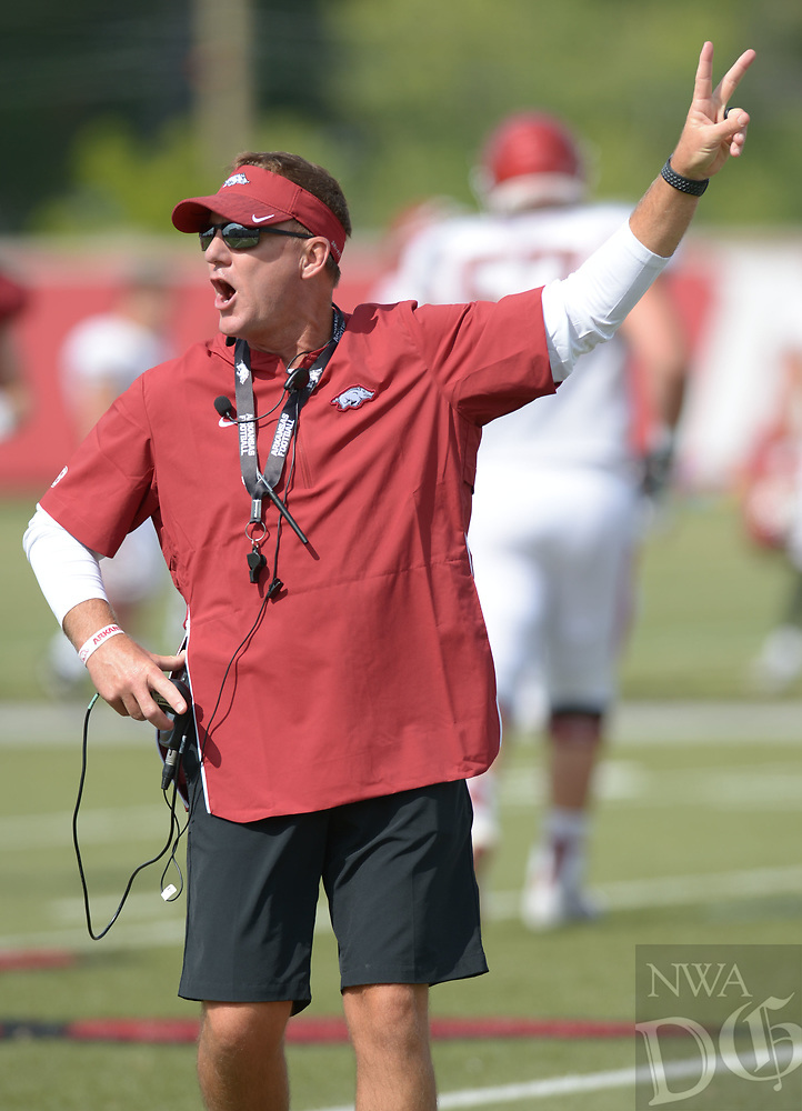 NWA Democrat-Gazette/ANDY SHUPE<br /> Arkansas coach Chad Morris directs his players Thursday, Aug. 9, 2018, during practice at the university's practice facility in Fayetteville. Visit nwadg.com/photos to see more photos from practice.