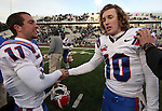 Louisiana Tech's Nick Isham (11) congratulates quarterback Colby Cameron (10) following their 24-20 victory over Nevada in an NCAA football game Saturday, Nov. 19, 2011, in Reno, Nev. (AP Photo/Cathleen Allison)