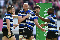 Elliott Stooke of Bath Rugby celebrates his second half try with team-mates. European Rugby Challenge Cup Semi Final, between Stade Francais and Bath Rugby on April 23, 2017 at the Stade Jean-Bouin in Paris, France. Photo by: Patrick Khachfe / Onside Images