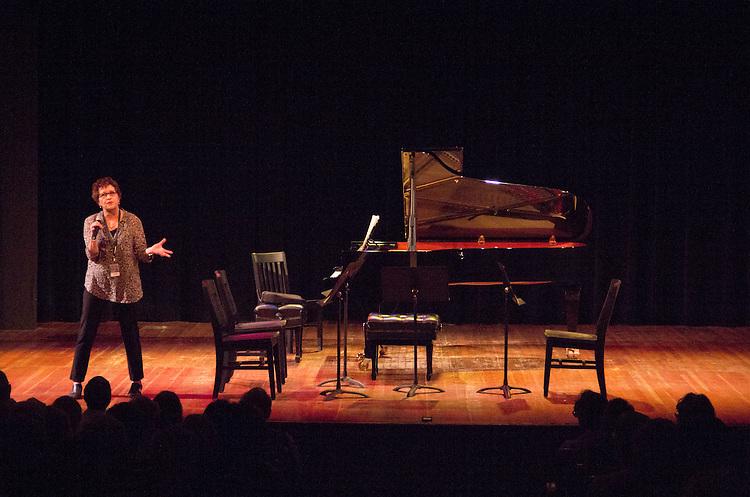 Centrum, Chamber Music Workshop, Fort Worden, Wheeler Theater, June 16-21 2015, Lucinda Carver, introducing workshop artists, the Azalea Quartet and Quartet Elektra, Port Townsend, Washington State,