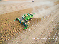 63801-09001 Soybean Harvest, 2 John Deere combines harvesting soybeans - aerial - Marion Co. IL