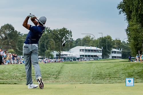 August 30, 2015: Jason Day hits his tee shot from the 16th tee box during the final round of The Barclays at Plainfield Country Club in Edison, NJ.
