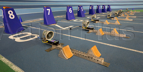 28.02.2016. EIS Sheffield, Sheffield, England. British Indoor Athletics Championships Day Two. General view of the starting blocks on the Indoor Athletics Track, English Institute of Sport.