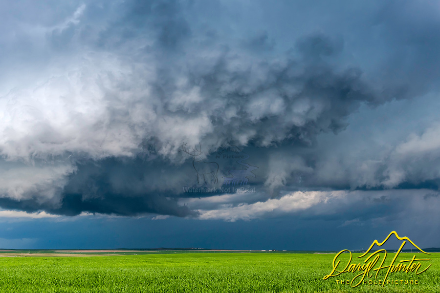 A tornacic storm cloud rolling across the farm fields of Eastern Idaho near Idaho Falls.