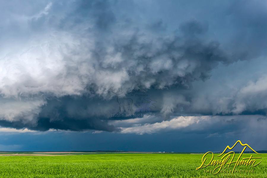 A tornacic storm cloud rolling across the farm fields of Eastern Idaho near Idaho Falls.
