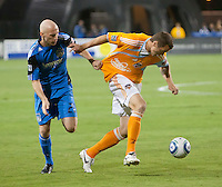 SANTA CLARA, CA – OCTOBER 16: San Jose Earthquake defender Tim Ward (20) and Houston Dynamo forward Cam Weaver (15) during a soccer match at Buck Shaw Stadium, October 16, 2010 in Santa Clara, California. Final score San Jose Earthquakes 0, Houston Dynamo 1.