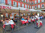 Cafe restaurant bars tables outside Plaza Mayor, Madrid city centre, Spain