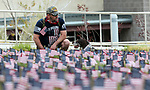 Michael Fialkowski and his dog Schultz participate in the 4th annual Veterans Suicide Awareness March at Western Nevada College, in Carson City, Nev., on Saturday, May 5, 2018. <br /> Photo by Cathleen Allison/Nevada Momentum