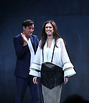 Clive Owen and Julie Taymor during the Broadway Opening Night performance Curtain Call for 'M. Butterfly' on October 26, 2017 at Cort Theater in New York City.