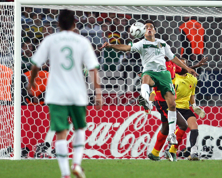 Omar Bravo (19) of Mexico can not control a cross in front of the Angola goal. Mexico and Angola played to a 0-0 tie in their FIFA World Cup Group D match at FIFA World Cup Stadium, Hanover, Germany, June 16, 2006.