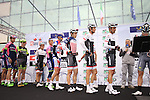 Riders including Frank Schleck (LUX) and US National Champion Matthew Busche (USA) Trek Factory Racing at sign on for the start of the 2015 96th Milan-Turin 186km race starting at San Giuliano Milanese, Italy. 1st October 2015.<br /> Picture: Eoin Clarke | Newsfile