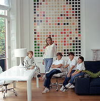 Portrait of Rosa de la Cruz Bonfiglio and her four sons in the living room of their London home