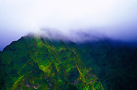Clouds touch the apex of the Koolau Mountain range, Windward Oahu