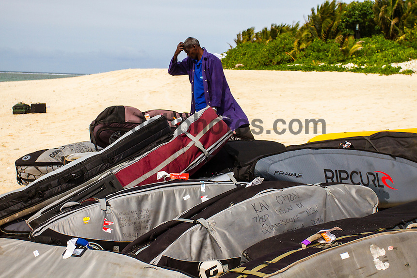 Namotu Island Resort, Fiji. (Saturday, June 2, 2012) Surfboard travel bags arriving on Namotu Island. -   The opening ceremony of the Volcom Fiji Pro was held today on Tavarua Island. The opening featured the traditional kave drinking and dancing from the local Fijian tribe..The Top 34 surfers arrived on Namotu and Tavarua Islands today in preparation fro the event which could start as early as tomorrow. Todays surf was in the 6' range and most of the surfers took advantage of the conditions to get some waves at Cloudbreak Photo: joliphotos.com