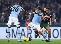11th January 2020; Stadio Olympico, Rome, Italy; Serie A Football, Lazio versus Napoli; Lucas Leiva Pezzini of Lazio holds off Mario Rui of Napoli - Editorial Use