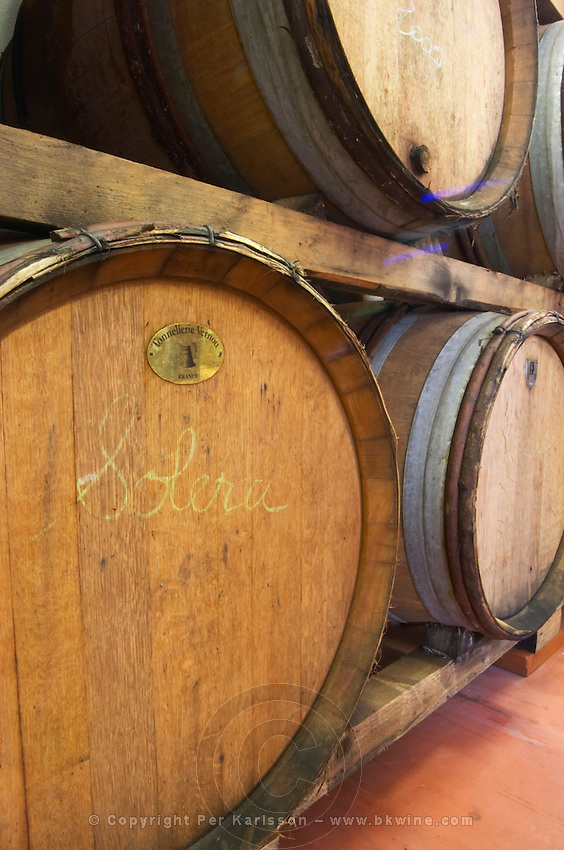 Solera. Domaine Madeloc, Banyuls sur Mer. Roussillon. Barrel cellar. France. Europe.