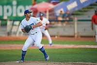 Evy Ruibal (31) of the Ogden Raptors delivers a pitch during a game against the Great Falls Voyagers at Lindquist Field on August 22, 2018 in Ogden, Utah. Great Falls defeated Ogden 3-1. (Stephen Smith/Four Seam Images)
