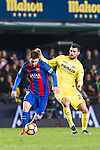 Lionel Andres Messi of FC Barcelona battles for the ball with Roberto Soriano of Villarreal CF during their La Liga match between Villarreal and FC Barcelona at the Estadio de la Cerámica on 08 January 2017 in Villarreal, Spain. Photo by Maria Jose Segovia Carmona / Power Sport Images