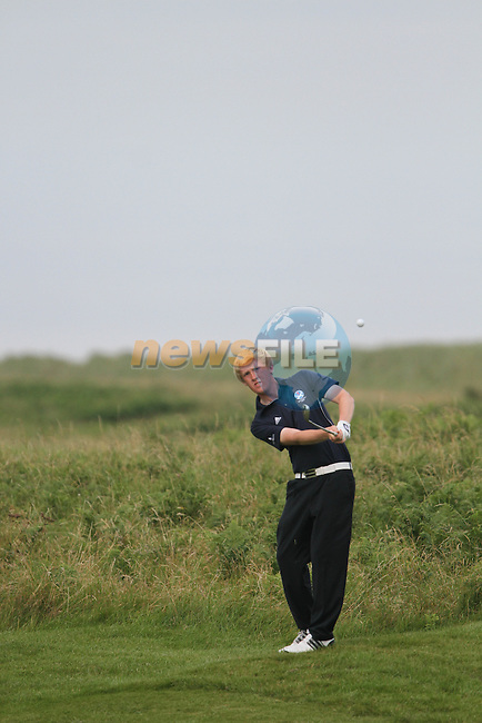 Jamie Savage (SCO) on the 18th on the Final Day of the 2012 Boys Home Internationals at Co.Louth Golf Club in Baltray, Co.Louth...(Photo credit should read Jenny Matthews/NEWSFILE)...