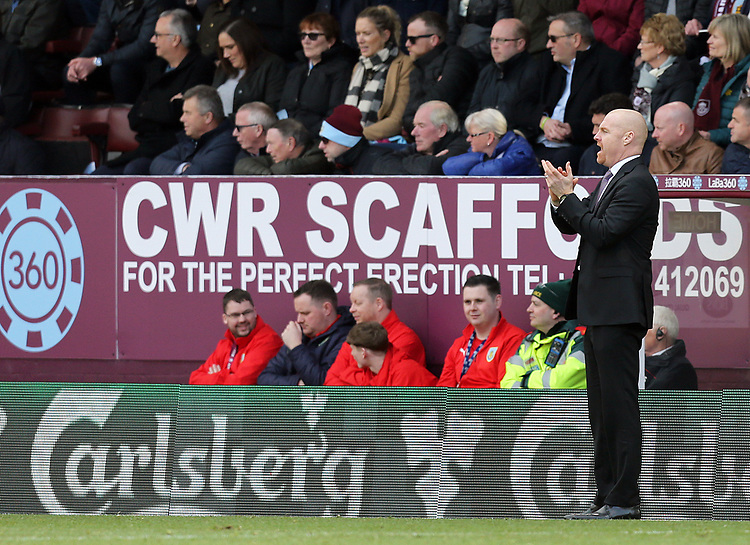 Burnley manager Sean Dyche reacts<br /> <br /> Photographer Rich Linley/CameraSport<br /> <br /> The Premier League - Burnley v Wolverhampton Wanderers - Saturday 30th March 2019 - Turf Moor - Burnley<br /> <br /> World Copyright © 2019 CameraSport. All rights reserved. 43 Linden Ave. Countesthorpe. Leicester. England. LE8 5PG - Tel: +44 (0) 116 277 4147 - admin@camerasport.com - www.camerasport.com
