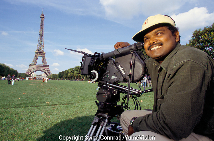 Cameramen at the Eiffel tower in Paris France, for the shooting of the Bollywood film ''Live only for you''