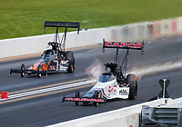 Jun 9, 2019; Topeka, KS, USA; NHRA top fuel driver Steve Torrence (right) alongside Terry Totten during the Heartland Nationals at Heartland Motorsports Park. Mandatory Credit: Mark J. Rebilas-USA TODAY Sports