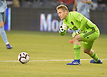 Sporting KC goalkeeper Tim Melia rolls the ball out to a teammate during their CONCACAF Champions League game on February 21, 2019 at Children's Mercy Park in Kansas City, KS.<br /> Tim VIZER/Agence France-Presse