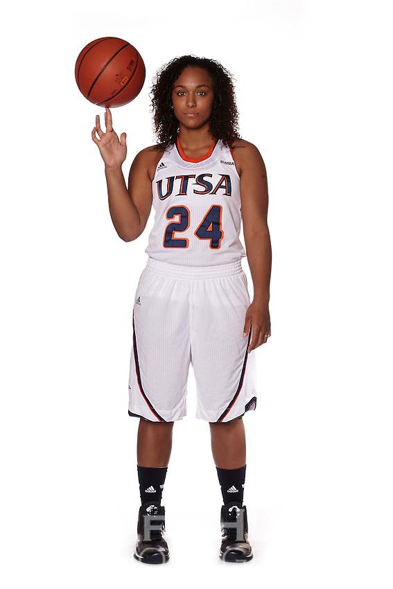 SAN ANTONIO, TX - SEPTEMBER 17, 2014: Marketing Photo Shoot of the University of Texas at San Antonio Women's Basketball Team at the UTSA Convocation Center. (Photo by Jeff Huehn)