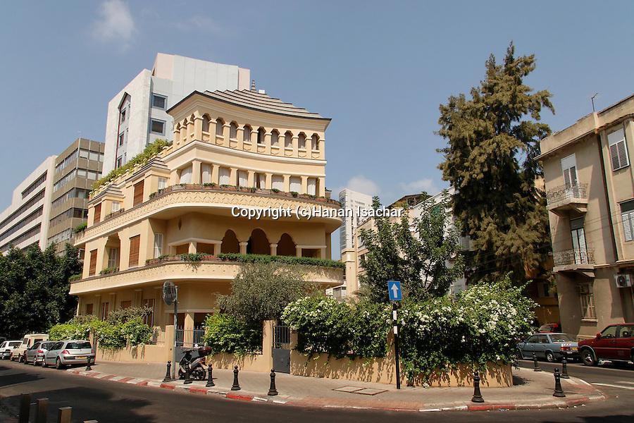 Israel, Tel Aviv. The Pagoda house, a Bauhaus style building
