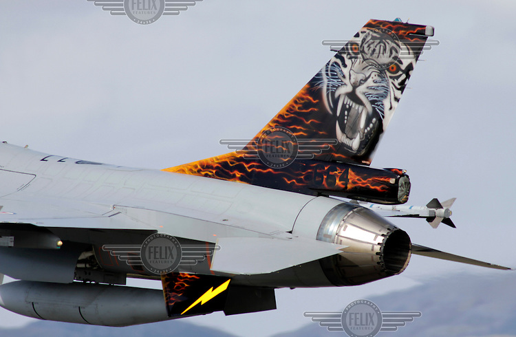 Norwegian F-16 with a tiger on its tail. Nato Tiger Meet is an annual gathering of squadrons using the tiger as their mascot. While originally mostly a social event it is now a full military exercise. Tiger Meet 2012 was held at the Norwegian air base Ørlandet.