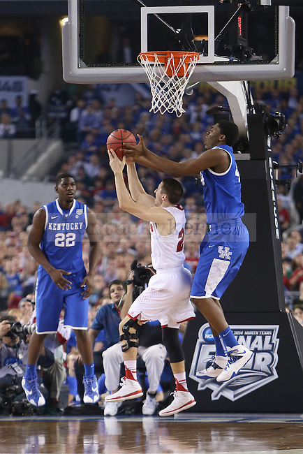 Kentucky Wildcats center Dakari Johnson (44) guards the ball during the NCAA Final Four vs. Wisconsin at the AT&T in Arlington, Tx., on Saturday, April 5, 2014. Photo by Emily Wuetcher | Staff