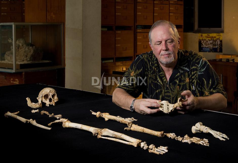 "Dr. William Jungers admires ""LB1"", the type specimen skeleton of Homo floresiensis, a.k.a., the Flores hobbit."