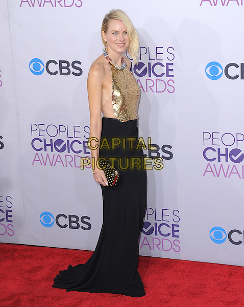 Naomi Watts.The 2013 People's Choice Awards held at Nokia Live in Los Angeles, California 9th January 2013                                                                   .full length gold sleeveless sequins sequined collar embellished jewel encrusted top skirt black side clutch bag halterneck .CAP/DVS.©DVS/Capital Pictures.