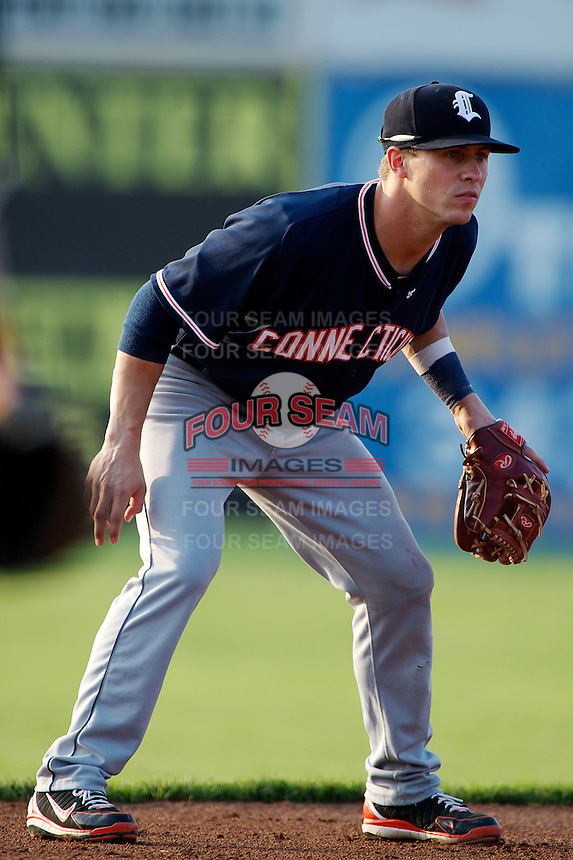 Connecticut Tigers shortstop Jordan Dean #1 during a game against the Batavia Muckdogs at Dwyer Stadium on July 4, 2012 in Batavia, New York.  Batavia defeated Connecticut 3-2.  (Mike Janes/Four Seam Images)